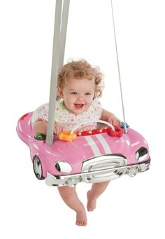 "Keep your baby girl entertained with the Adorable Pink   Evenflo Car Doorway Jumper! ""Jump & Go Baby Doorway Door Frame Bouncer Jumper Jump Toy Pink Race Cars Johnny"" $67.99 and Free Shipping!"