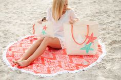 Coral Cove Circle Towel Sand Custom Personalized MONOGRAM Available by CommonThreadsShop on Etsy https://www.etsy.com/listing/510715027/coral-cove-circle-towel-sand-custom