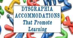 Dysgraphia accommodations to use in the classroom or homeschool to help promote learning excellence and equip children for excellence as adults. Preschool Special Education, Gifted Education, Multiple Disabilities, Learning Disabilities, Dysgraphia, Dyslexia, Game Data, Resource Room, School Psychology