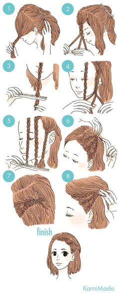 Braided bangs on short hair