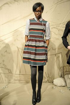 Gingham + stripes + tights.  love the layering under the dress