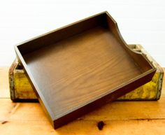 Vintage Wood In and Out File Box Tray by esther2u2 on Etsy, $14.00