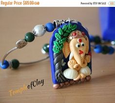 ON SALE Ganesha Pendant/Polymer clay by TempleofClay on Etsy