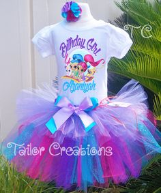 Shimmer and Shine Custom Glitter Birthday tutu dress Shimmer And Shine Outfit, Shimmer And Shine Cake, Glitter Birthday, Birthday Tutu, Little Princess, 5th Birthday Party Ideas, Bday Girl, Daisy, Lol
