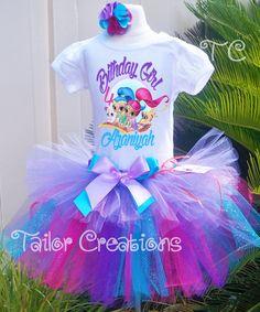 Shimmer and Shine Custom Glitter Birthday tutu dress