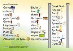 Ancient Greece word mat (SB6126) - SparkleBox