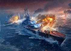 World Of Warships Wallpaper, Diorama Militar, Navy Coast Guard, Military Diorama, Global Art, Battleship, Wwii, Concept Art, Army