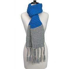 Knitted Fringe Scarf-Royal