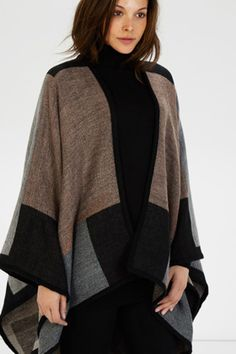 Wrap up warm in this knitted cape featuring a colour block design and contrast binding at the hemline. Height of model shown: 10 Model wears: UK size Emma Willis, Knitted Cape, Color Blocking, Colour Block, Model Show, Grey Pattern, My Wardrobe, Hemline, Scarves