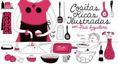 COSITAS RICAS ILUSTRADAS por Pati Aguilera -  diseñadora y amante de la cocina propone recetas de comida recolectada de varios lados (Melon con vino, completo, humitas, queque de chocolate y naranja, mote con huesillo ...)