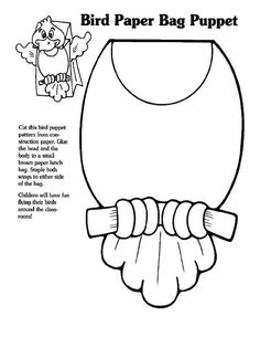 Bunny Paper Bag Puppet Coloring or Template in 2019