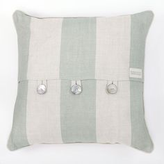 Seafoam Broadstripe Cushion by Peony & Sage
