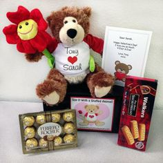 "Personalized Valentine Teddy Bear Gift Set - 11"" Dark Brown Luv to Cuddle Bear"