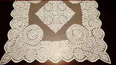 Slovak folk embroidery-application batiste(cloth) on the tulle. Typical of a village near Trnava from Trakovice. In 1940.// Slovenská ľudová výšivka-aplikácia batist na tyle. Typická pre jednu dedinu v okolí Trnavy,Trakovice. V roku 1940. Folk, Quilts, Blanket, Scrappy Quilts, Comforters, Popular, Patch Quilt, Forks, Quilt