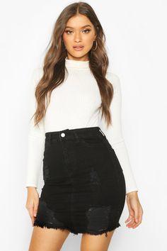 Home - Spot Pop Fashion Distressed Denim, Hip Hop Fashion, Pop Fashion, Fashion Outfits, Denim Mini Skirt, Mini Skirts, Sexy Women, Women Wear, Interview