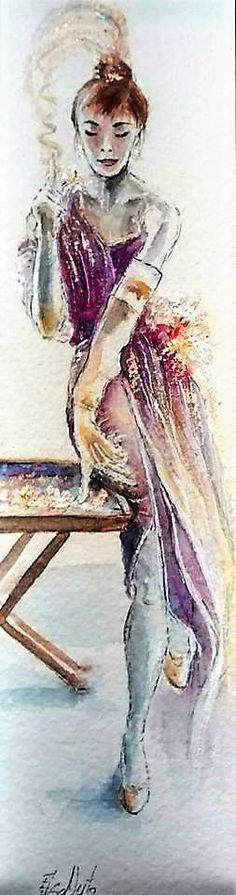 Watercolor illustration lady. Elsa Nutz