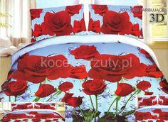 Elegancka niebieska pościel z mikrwłókna w czerwone róże