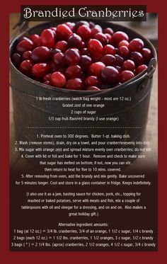 Brandied Cranberries. I have some cranberries I would love to do this with.