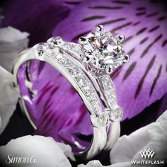 18k White Gold Simon G. MR1546-D Delicate Diamond Wedding Set