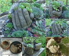 Really Fun DIY Concrete Hand Planters .................FOLLOW DIY Fun Ideas for more!!! .............BEST DIY SITE EVER!!