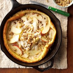 Apples 'n' Cream Pancake Recipe -This recipe is delicious for breakfast or brunch. I usually make a double batch—because everyone wants more! With our own orchard, we have plenty of Delicious and Winesap apples.they make this a true Midwestern meal. Cast Iron Skillet Cooking, Iron Skillet Recipes, Cast Iron Recipes, Skillet Meals, What's For Breakfast, Breakfast Dishes, Breakfast Recipes, Apple Recipes, Great Recipes