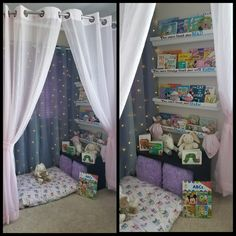 Girl reading corner - rain gutter shelves, Dr. Suess quote, lighted curtain, curved shower rod, dog bed/floor pillow