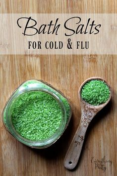 This easy bath salts recipe for cold and flu has essential oils to help you relax and breathe easier.