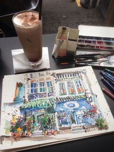 Sketching shophouses @ Club Street, Singapore