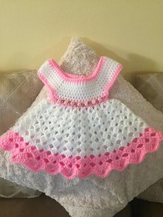 Crochet baby dress. Made to order. Processing time of 3-5 days. Great baby shower gift. Available in all colors, just message me at checkout. Ships between 1-2 weeks.