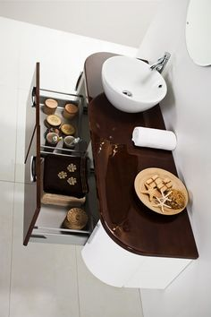 Linea Blanca collection - wooden bathroom furniture / łazienka #bathroom #furniture #wood #washbasin