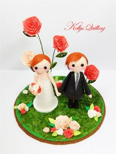 Paper Quilling Wedding decoration  in Rose by KellysQuilling