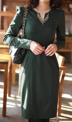 OL fashion plus size long sleeve Dark green. chic dress
