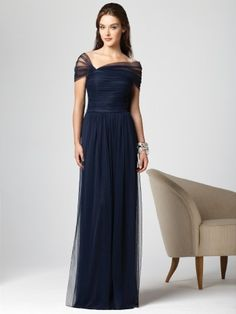 Sheath Off-the-shoulder Dark Navy Tulle Long Bridesmaid Dress with Short Sleeve