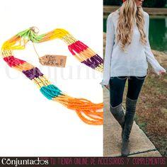 El #collar de cuentas multicolor Rainbow es un precioso #accesorio atemporal de #estilo #étnico con los tonos perfectos para subir el ánimo de la más pesimista. Combina con todo y queda fenomenal tanto con jeans como con vestidos informales ★ Precio: 7,95 € en http://www.conjuntados.com/es/collares/collar-de-cuentas-multicolor-rainbow.html ★ #novedades #necklace #joyitas #jewelry #bisutería #bijoux #moda #estilo #fashion #GustosParaTodas #ParaTodosLosGustos