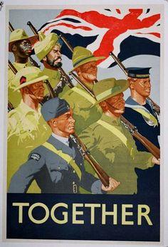 British World War II Propaganda Poster - Together - Vintage WWII Propaganda Art Print Ww2 Propaganda Posters, Political Posters, Military Art, Military History, British History, World War Ii, Vintage Posters, Posters Uk, Quote Posters