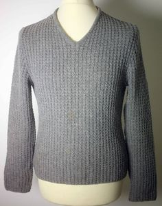 COSTUME HOMME MENS GREY WOOL-BLEND WAFFLE SWEATER-SIZE M-SEVERAL COFFEE STAINS #CostumeHomme #Jumpers