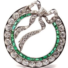Tiffany & Co. Art Deco Diamond & Emerald Bow Platinum Pin Brooch