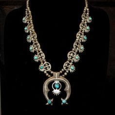 Beautiful Old Navajo Sandcast Sterling Silver Turquoise Squash Blossom Necklace