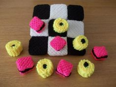 Hand Knitted Noughts and Crosses Liquorice Allsorts Game Hand Knitting, Knitting Patterns, Knitting Ideas, Liquorice Allsorts, Handmade Art, Helpful Hints, Raspberry, Knit Crochet, Projects To Try