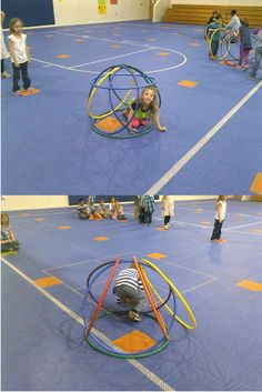 Awesome Hula-Hut Relay activity by J. Not much equipment is needed, I've actually seen this done at McNair and kids love it. Pe Activities, Gross Motor Activities, Team Building Activities, Gross Motor Skills, Physical Activities, Activity Games, Kids Gym, Exercise For Kids, Kids Sports