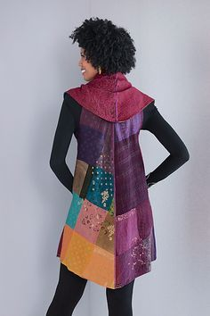 Ombre Patched Gold Stamp Vest - Bright by Mieko Mintz: Cotton Kantha Vest available at www.artfulhome.com