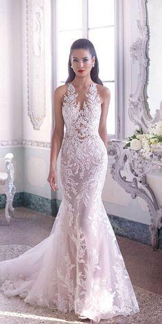 Glamorous Deep V Neckline Floral Wedding Dress; V Neck Wedding Dress Sexy Wedding Dresses, Gorgeous Wedding Dress, Bridal Dresses, Beautiful Dresses, Wedding Dress Sheath, Prom Dress, Wedding Gowns, Vestidos Vintage, Mermaid Dresses
