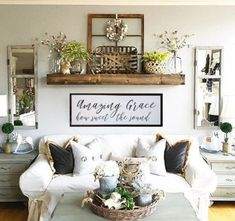 Vintage Farmhouse Decor Amazing Grace how sweet the sound wood sign, custom wood sign, living room decor, farmhouse sign - Side Table Decor, Table Decor Living Room, My Living Room, Small Living, Modern Living, Living Room Decor Fixer Upper, Side Tables, How To Decorate Living Room Walls, Living Room Wall Decor Ideas Above Couch