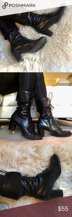 BORN leather boots black. Size 7.5 Very quality leather, most comfy boots I ever had. Good condition. 100% leather. Born Shoes Lace Up Boots