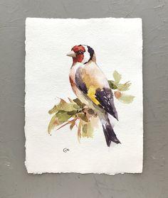 European Goldfinch Original Watercolor Bird Painting 7 x 9