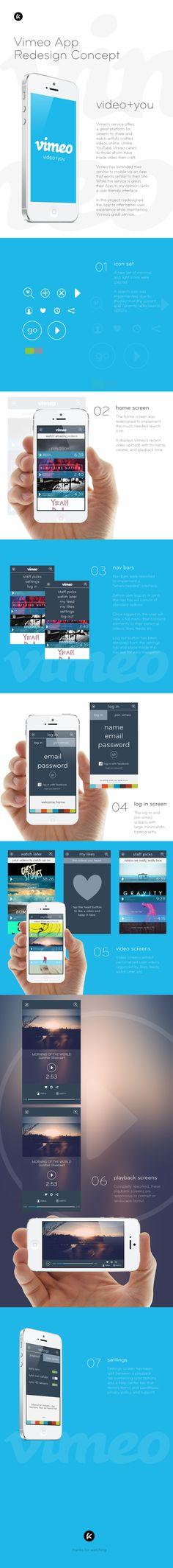 Vimeo App Redesign Concept by Karielys Cruz, via Behance  Love horizontal structure ! #web #Ui