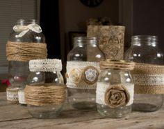 Set of 2 Small and 3 Large Mason Jar Country Wedding Twine Burlap Lace Large Mason Jars, Hanging Mason Jars, Mason Jar Candles, Mason Jar Crafts, Mason Jar Diy, Home Goods Decor, Decorated Jars, Home And Deco, Vases Decor