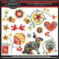 Floral Woodland Collection Clipart Elements Collage Sheet for cards, stationary, invitations, scrapbooking and all paper crafts