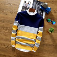 YG6174-3 Cheap wholesale 2017 new Han edition round collar stripe sweater male of cultivate one's morality men sweater knit
