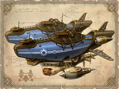 steampunk flying pirate ships airship blimp boat equipment. Black Bedroom Furniture Sets. Home Design Ideas